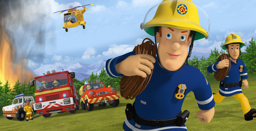 An illustration of two fireman running away from a forest fire. In the background, there is a fire truck, police car and a helicopter flying in the air.