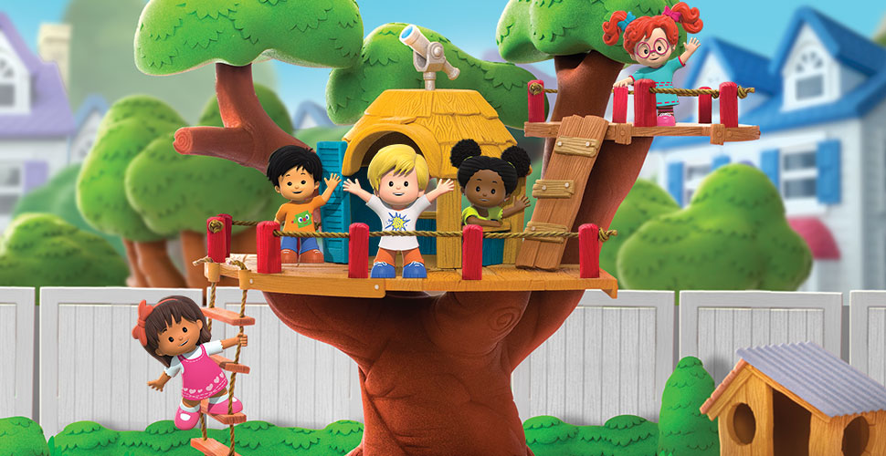 A group of kids waving from a treehouse. Behind the treehouse is a white fence, homes and more trees.
