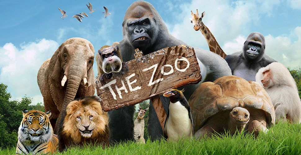 A group of exotic animals standing in a green field, surrounding a sign that says: The Zoo.