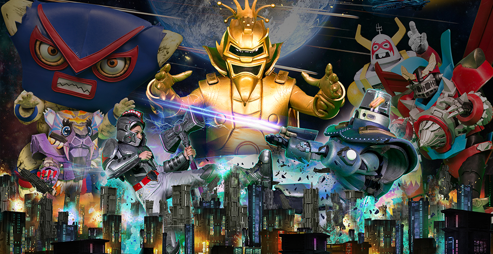 An angry villain dressed in a gold suit appearing behind a city skyline. He is surrounded by other robots and explosions.