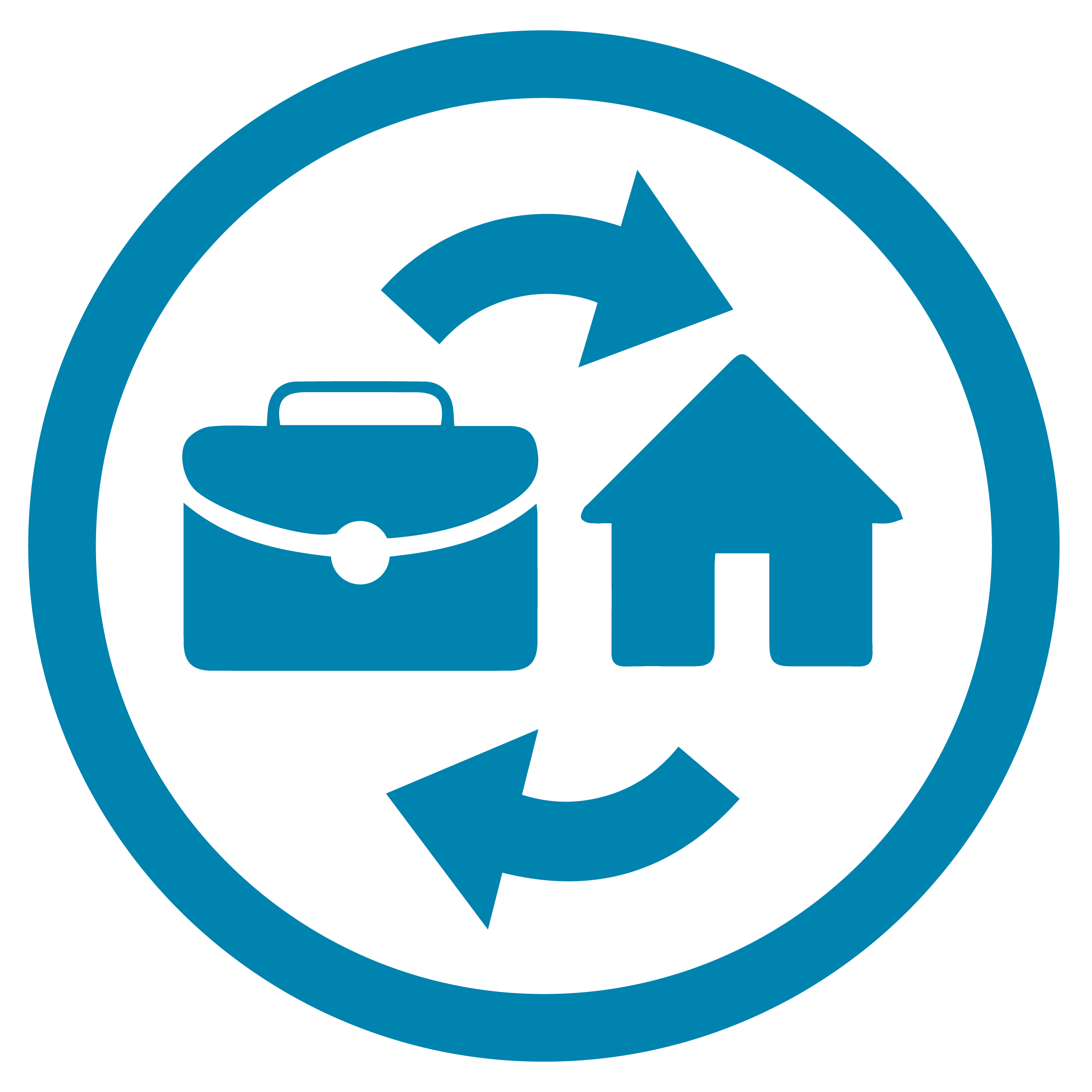 A blue circle with a house and briefcase inside it.