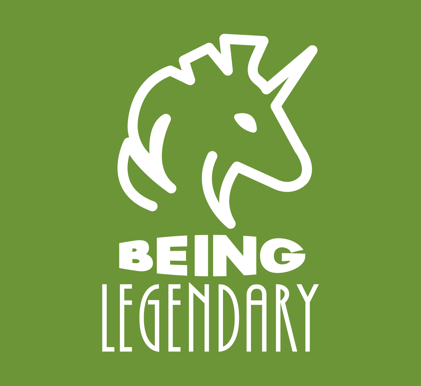 A green square with a white unicorn that says: Being Legendary.