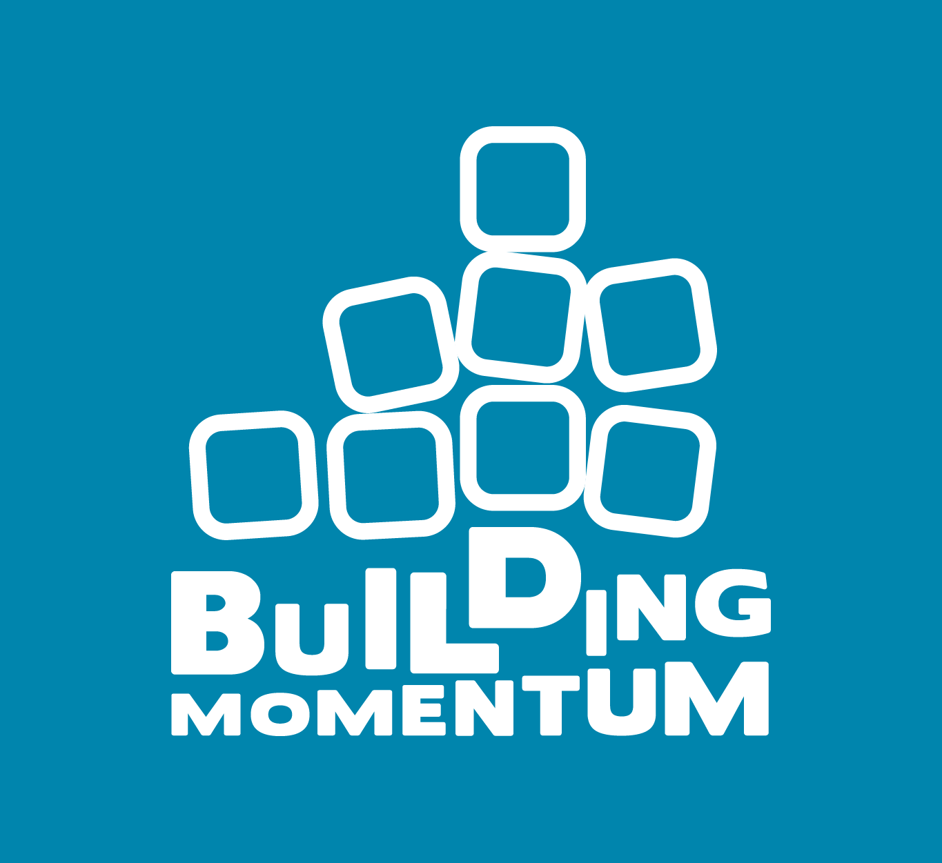 A blue box with white building blocks that says: Building Momentum.