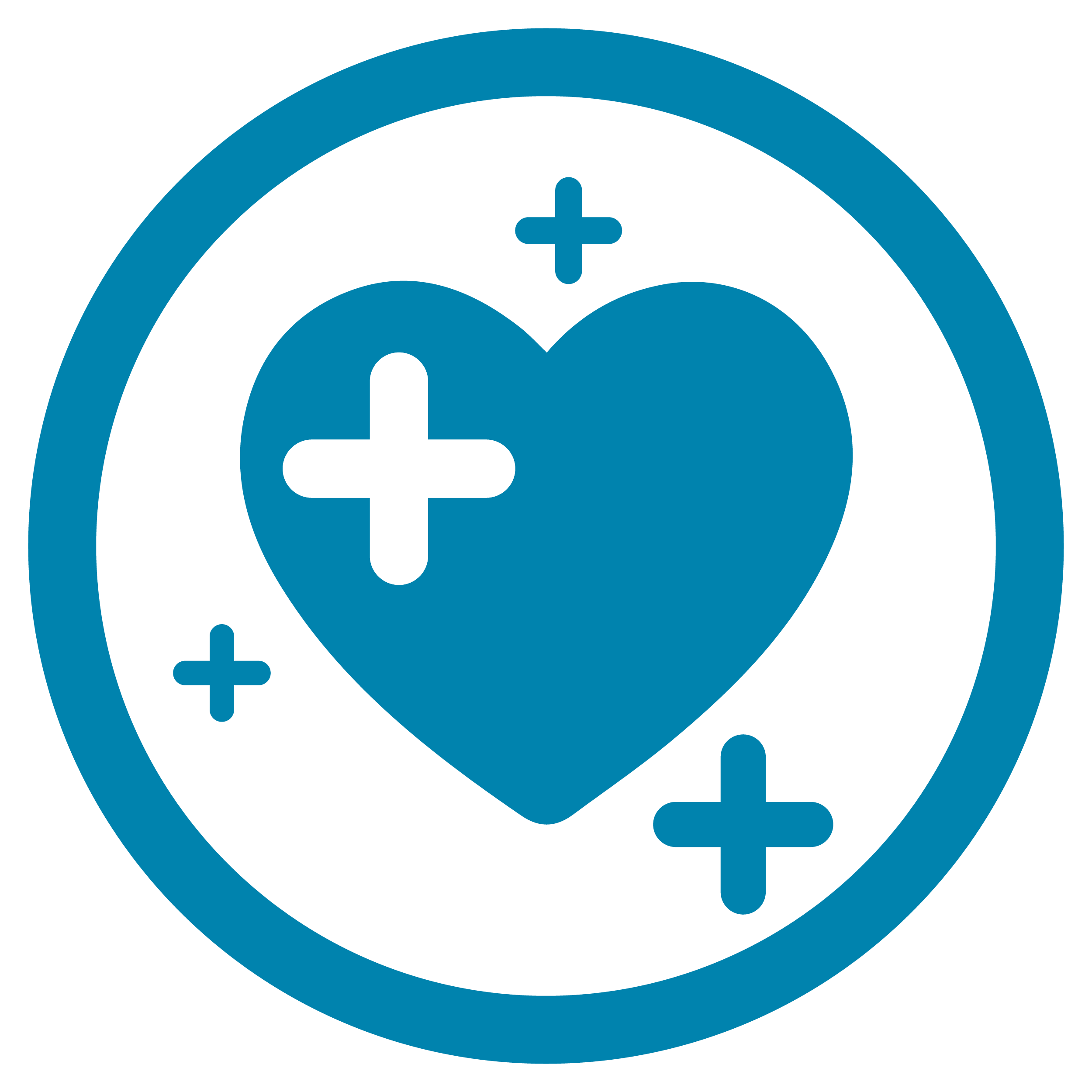 A blue circle with a heart inside it and plus symbols.