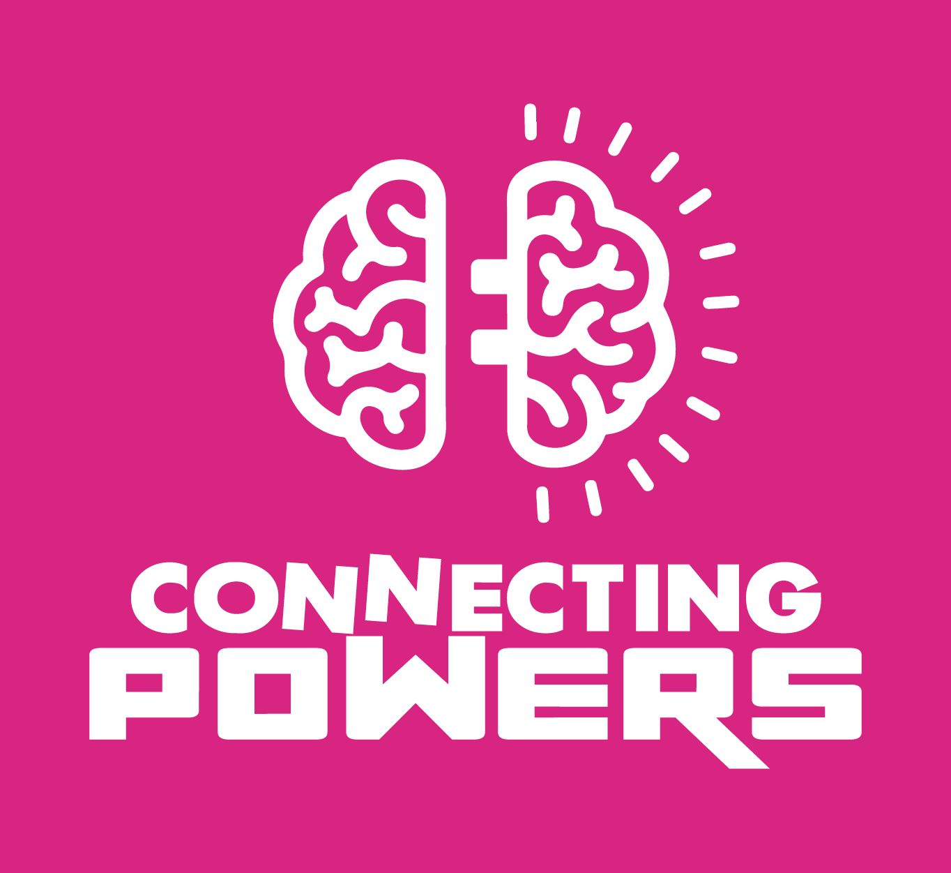 A pink square with a white brain that says: Connecting Powers.