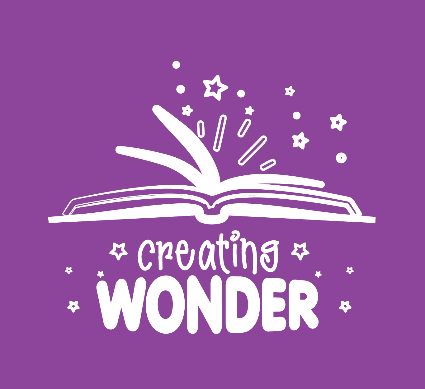 A purple square with a white open book that says: Creating Wonder.
