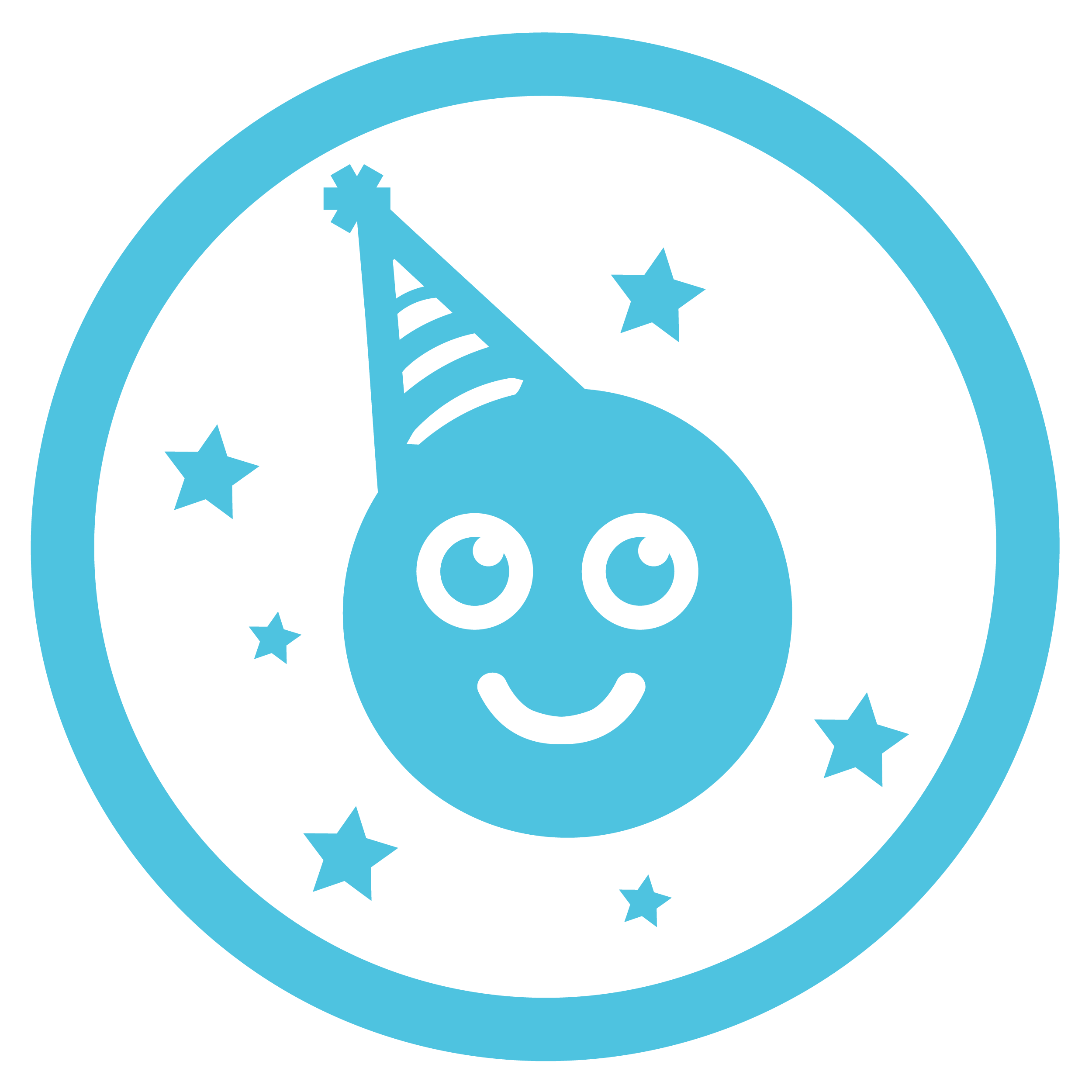 A blue circle with a smiley face wearing a party hat inside it.