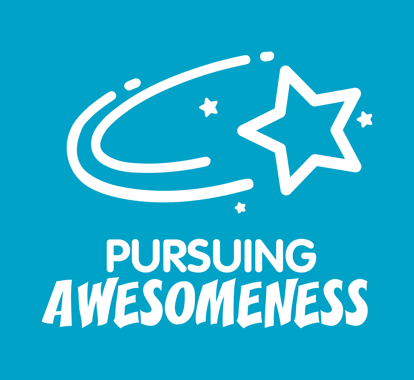 A blue square with a white star that says: Pursuing Awesomeness.