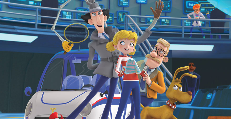 A detective in a grey suit, a blonde girl with pigtails, a middle-aged man with glasses and a dog are standing in front of a car inside a blue facility.