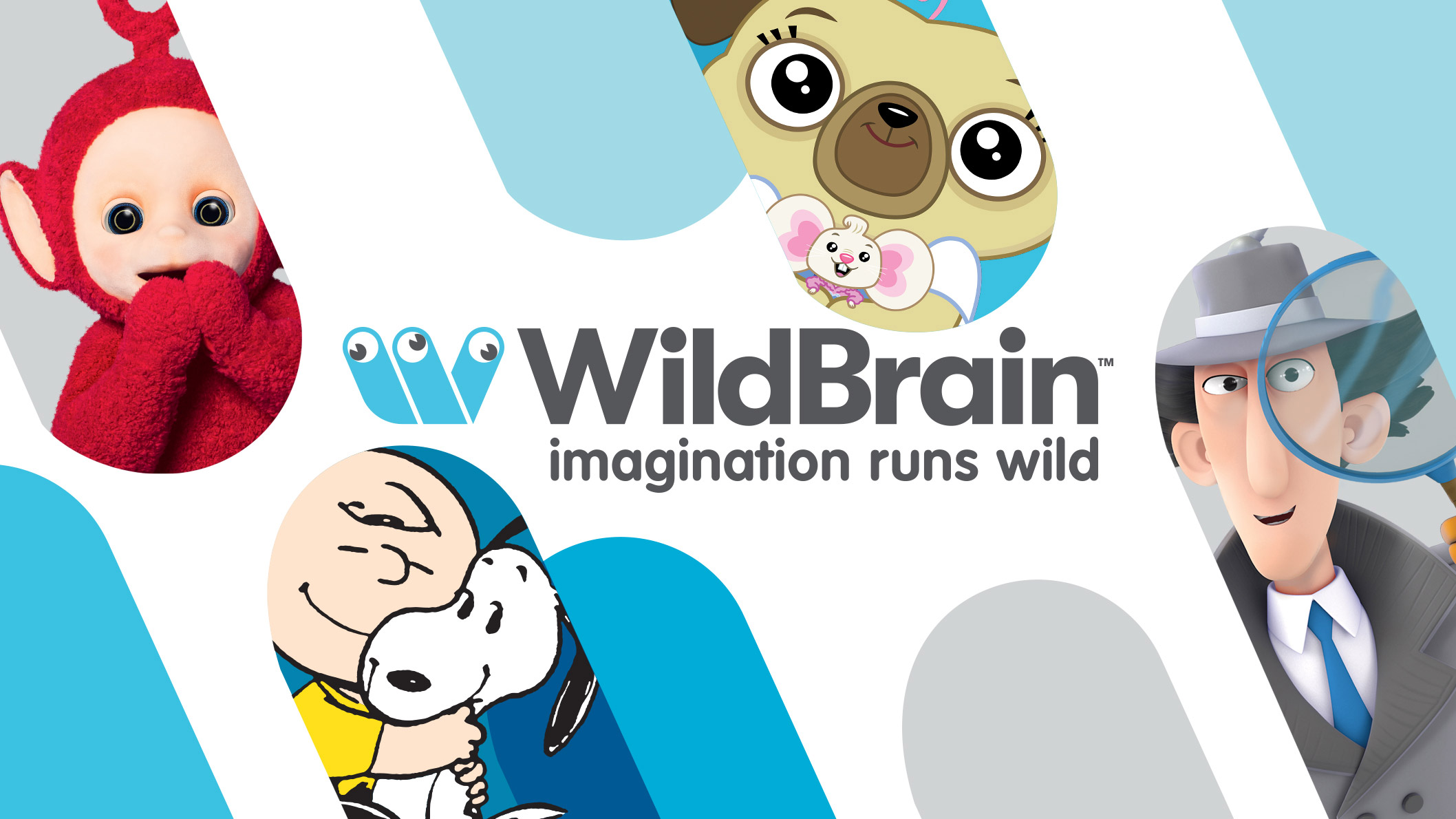 A white background with the WildBrain logo and a text that says Imagination Runs Wild, in the middle. There are blue shapes sticking out from the corners of the image, with different characters in each blue shape.