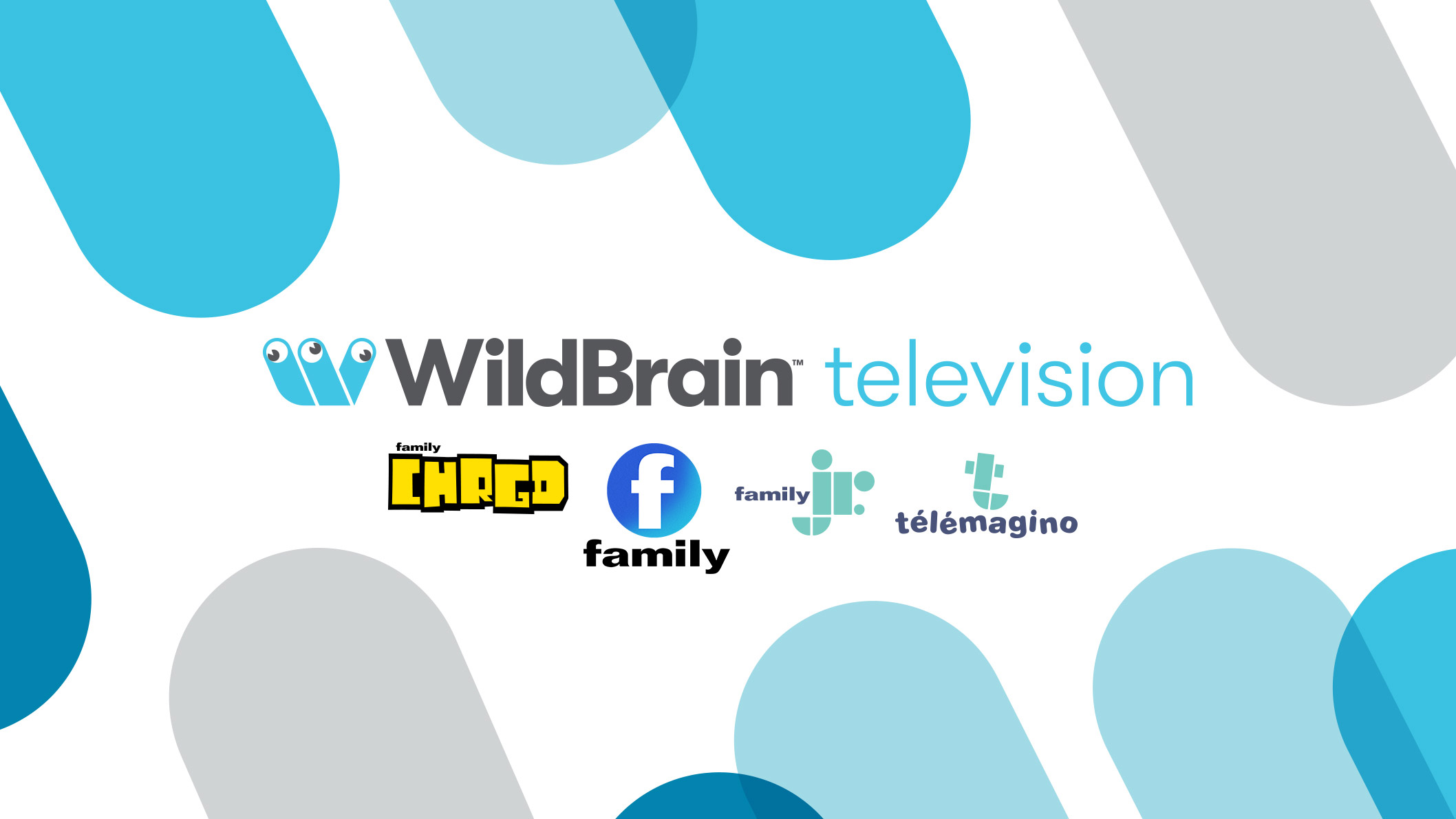 A white background with the WildBrain television logo in the middle and four other logos underneath it. There are dark blue, light blue and grey shapes sticking out from the corners of the image.